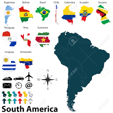Map Of Sounth America by Political Map Of South America Set With Maps And Flags On White