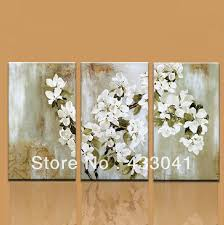 White Flower Wall Decor Hand Painted 3 Piece Apple Tree Blossom White Flower Wall Decor