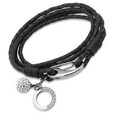 black bracelet women images New woman 39 s 4 coil black bracelet circular charm cz ball jpg