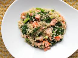 dill mustard warm couscous salad with salmon and mustard dill dressing recipe