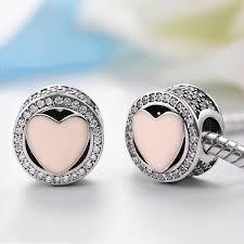 sterling silver heart bead bracelet images 925 sterling silver heart bead charms pink cubic zirconia cz clip jpg