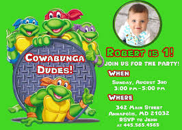 Invitation Card 7th Birthday Boy Ninja Turtle Party Invitations Theruntime Com