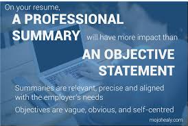 is an objective statement necessary on a resume employability archives mojohealy learning careers resume professional summaries have more impact than objective statements