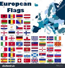 Europe Flag Map by European Flag Set Alphabetical Order Editable Stock Vector