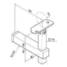 square adjustable handrail bracket flat fix to tube mount s3i