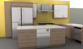 functional small kitchen with yellow turmeric walls combined