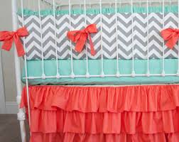 coral crib bedding etsy