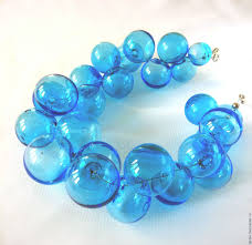color beads necklace images Necklace made from hand blown beads aquamarine color lampwork jpg