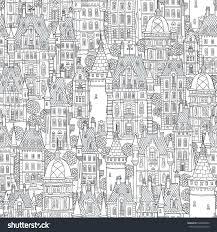seamless pattern fantasy urban landscape fairy stock vector