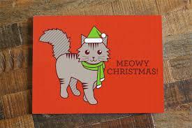 cute cat christmas card u201cmeowy christmas u201d u2013 tiny bee cards
