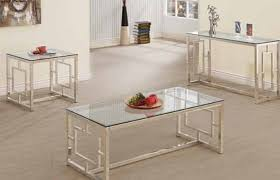 glass end table set furniture home contemporary satin glass metal coffee table set