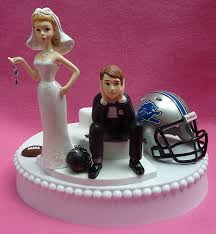 and chain cake topper wedding cake topper detroit lions football themed and