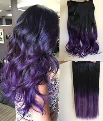 purple hair extensions balayage ombre clip in hair extensions one curly wavy black