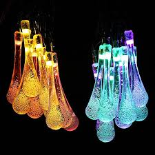Multi Colored Solar Garden Lights by Icicle Lights Solar Led Outdoor String Water Drop Decoration