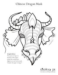 chinese printables masks dragons coloring pages