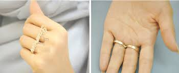 two finger name ring custom name knuckle duster silver gold personalized signature
