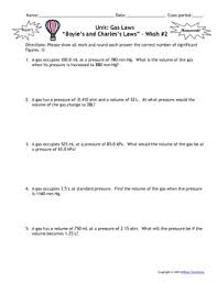 Charles Worksheet Answer Key Gas Laws Worksheets Set Of 6 Answers Include By Msrazz Chemclass