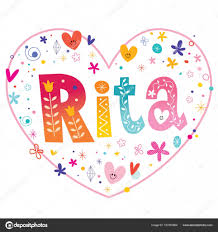rita girls name decorative lettering heart shaped love design