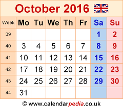 october 2016 calendar with holidays uk monthly calendar printable