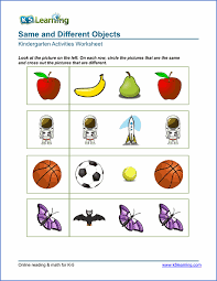 free preschool u0026 kindergarten same vs different worksheets