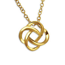 gold sterling silver necklace images Knot pendant necklace in gold plated sterling silver little bisous jpg