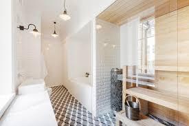 house luxury design for sauna room in modern bathroom decorating