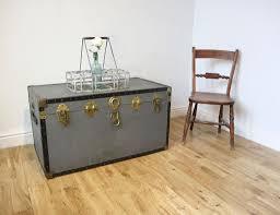 vintage metal bound steamer trunk coffee table storage chest
