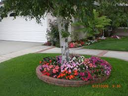 Backyard Trees Landscaping Ideas Flower Bed Around Tree Ideas Round Designs