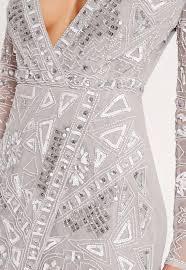 embellished dress premium sleeve sequin embellished wrap mini dress grey