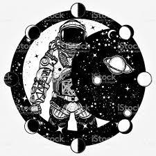 astronaut tattoo and tshirt design cosmonaut in universe solar