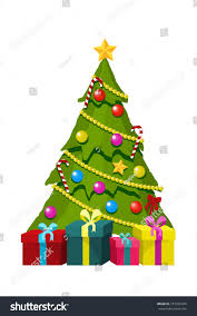 tree gift boxes ornaments vector stock vector 757329436