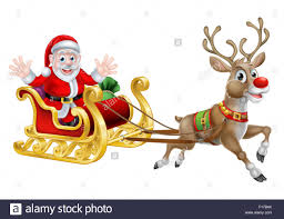cartoon of santa and his reindeer with his christmas sled stock