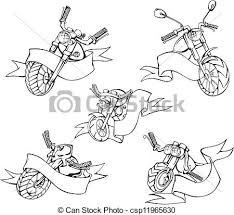 vectors of motorcycle templates with ribbons motorcycle
