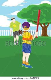 Backyard Cartoon A Cartoon Illustration Of A Boy Playing Baseball Stock Vector Art