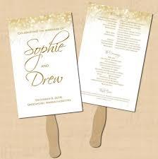 Cheap Wedding Program Fans White Gold Sparkles Text Editable Wedding Program Fan 5 5 X 8 5