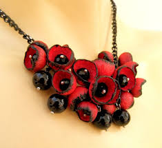 necklace flower handmade images Red black necklace statement necklace flower buds red jpg