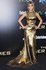 jennifer lawrence gold mermaid evening prom dress the hunger games