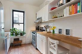 country kitchen with built in bookshelf u0026 subway tile in brooklyn