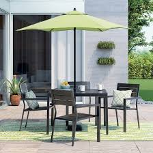 Outdoor Patio Dining Sets With Umbrella Bryant 5pc Square Metal Patio Dining Set Black Brown Project