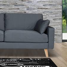 canap pied bois canapé 3 places fixe en tissu pieds bois coloris gris maison et
