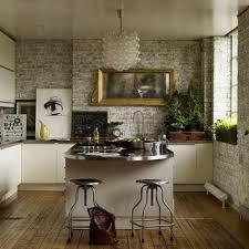 majestic small kitchen with metal countertop futuristic brick wall