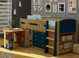 Midi Bed With Desk Mayfair Mid Sleeper Blue And Oak Midsleeper Bed With Desk U0026 Storage