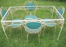 Antique Vintage Wrought Iron Upholstered Garden Patio Set Table - Antique patio furniture