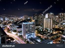 Honolulu City Lights City Lights Waikiki Honolulu Hawaii Night Stock Photo 71669395