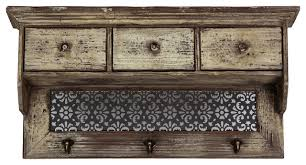 rustic wall shelf drawers coat rack hanger floral design storage