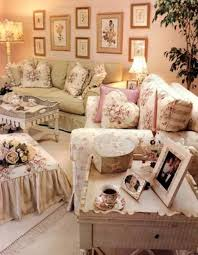 country shabby chic style living room with wall art and pillows