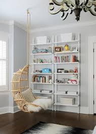 Rattan Bookcase Teen Bedroom With Hanging Rattan Chair And White Ladder