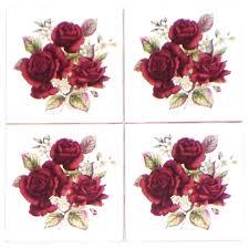 burgundy flowers burgundy flower kiln fired ceramic tile backsplash set of 4