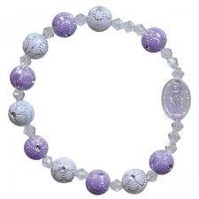 rosary bracelet purple children s stretch rosary bracelet leaflet missal