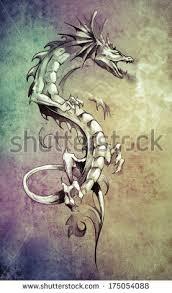 tattoo art sketch dragon over dirty stock photo 83733382